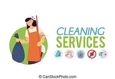 sac, nettoyage, service, femme