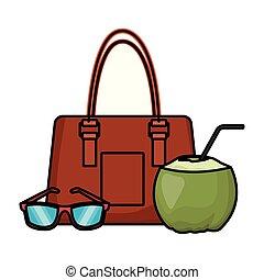 sac, noix coco, plage