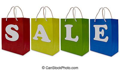 sac papier, achats, étiquette, vente