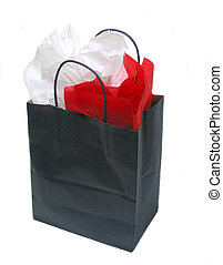 sac, papier, achats, tissu