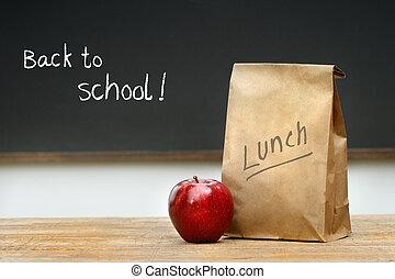 sac papier, bureau, déjeuner