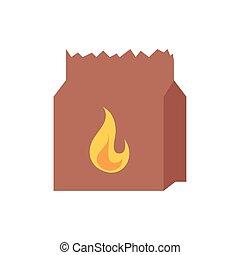 sac papier, flamme, brûler