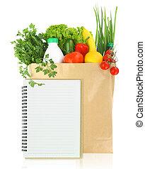 sac papier, frais, épicerie