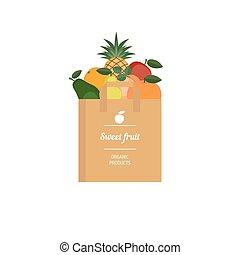 sac, papier, fruit, frais