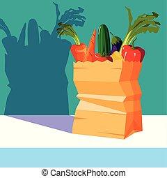 sac papier, légumes, ensemble, frais
