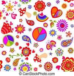sac, papillons, papier peint, symbole, rigolote, mode, impression, paisley, flower-power, seamless, emballage, pâquerette, puéril, paper., mouche agarique, paix, conception, arc-en-ciel