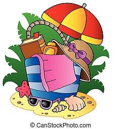 sac, parapluie plage, dessin animé