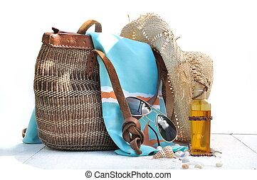 sac, plage, accessoires, coquilles