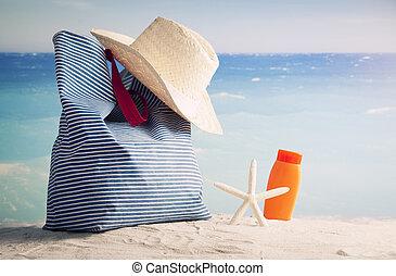 sac, plage, accessoires