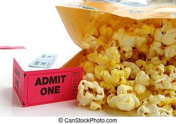 sac pop-corn, à, talon ticket, closeup