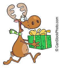 sac, renne, courses, heureux