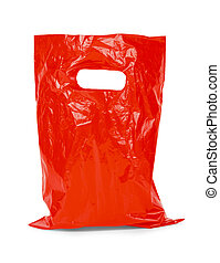 sac, rouges, plastique