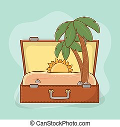 sac, scène plage, valise