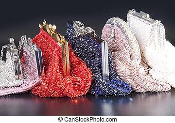 sac, soir, pile, perlé