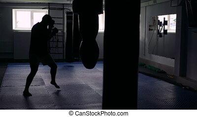 sac, sombre, gym., boxeur, 4k, trains, frapper