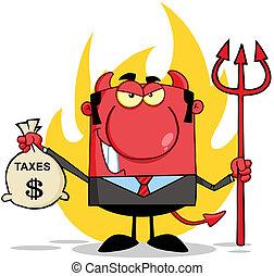 sac, sourire, diable, tenue, impôts
