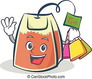 sac thé, achats, dessin animé, caractère