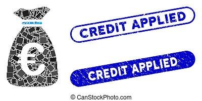 sac, timbres, argent, collage, euro, rectangle, grunge, appliqué, crédit