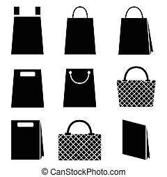 sac, vecteur, achats, collection, icônes