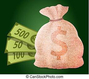 sac, vecteur, argent, casino, gagner, dollars
