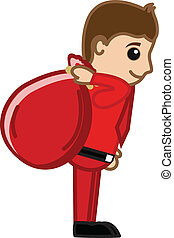 sac, vecteur, santa, cadeau, dessin animé