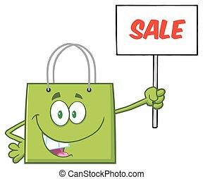 sac, vert, achats