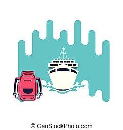 sac, voyage, bateau, bateau, croisière