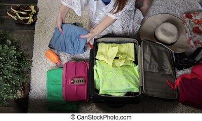 sac voyage, emballage, femelle transmet, vêtements
