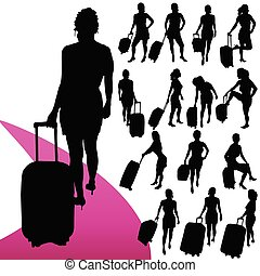 sac, voyage, vecteur, silhouette, girl