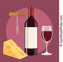 saca-rolhas, queijo, garrafa, vidro vinho
