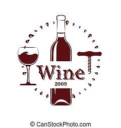 sacacorchos, botella de vidrio, vino