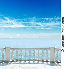 sacada, céu, mar, nublado, sob