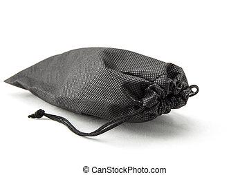 sacchetto, bianco, sfondo nero