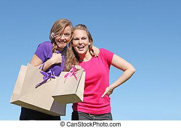 sacchetto spesa, adolescenti, riciclato, carta, ragazza