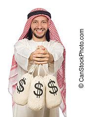 sacchi, soldi, arabo, uomo affari