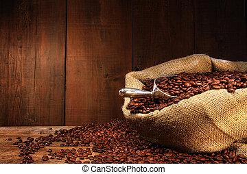 sacco burlap, di, fagioli caffè, contro, scuro, legno