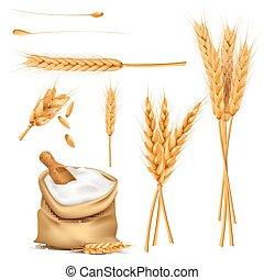 sacco, grani, vettore, orecchie, frumento, set, farina