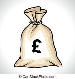 sacco soldi, con, segno libbra, vettore, illustrazione