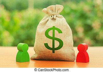 sacco soldi, due, dollaro, figure., relativo, proprietà, businessmen., leasing., relazione, persone, divorce., divisione, disputa, simbolo, affari, fra, soluzione, investimento, prestito