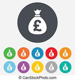 sacco soldi, segno, icon., libbra, gbp, currency.