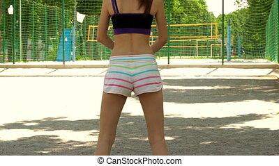 s'accroupit, short, fôlatre champ, fitness, girl