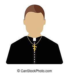 sacerdote, illustration., aislado, vector, icon., caricatura