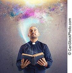 sacerdote, observa, universo, luz