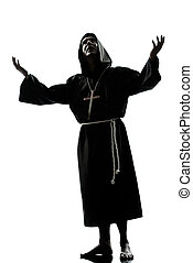 sacerdote, rezando, silueta, monje, hombre