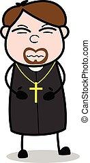 sacerdote, stomachache, -, ilustración, vector, religioso, ...