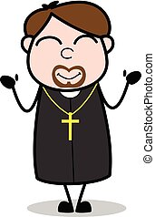 sacerdote, tímido, -, ilustración, vector, religioso, caricatura