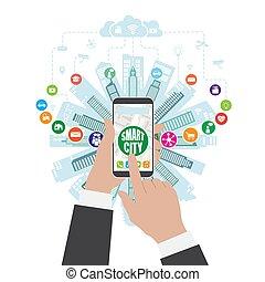 sachen, klug, internet, leben, dienstleistungen, sozial, wirklichkeit, networking, augmented, stadt, fortgeschritten