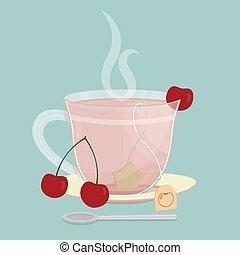 sachet, cereja, chá