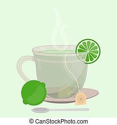 sachet, chá, limão