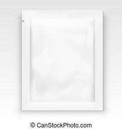 sachet, claro, packaging., folha, em branco, branca, bolso